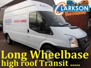Long wheelbase high roof Transit van for hire