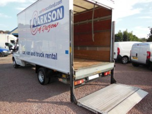 Transit Luton Box Van with tail lift. Most popular hire van for moving house at Clarkson Vehicle Hire.