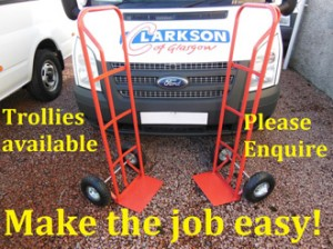 Trollies for moving house available when you hire a van from Clarksons of Glasgow.