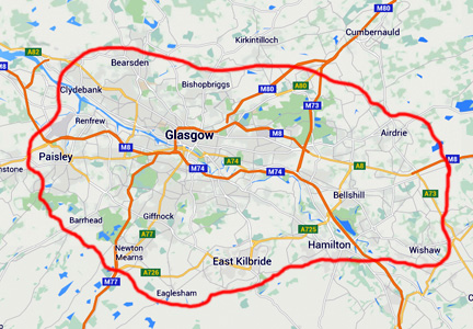 Map of vehicle hire areas we serve