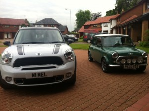 Mini Cooper 35th Anniversary Special Edition with a younger model.