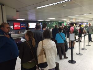 Car rental desk queue Glasgow airport