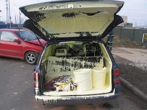 Messy painter and decorator van