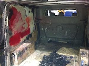 Messy painter's van
