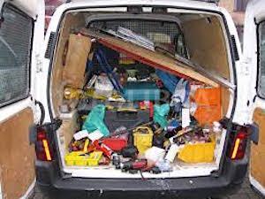 Untidy tradesman's van
