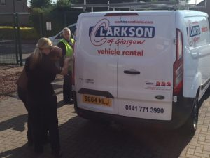 Transit Van being inspected before hire in Glasgow