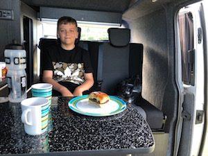 Cooking in campervan